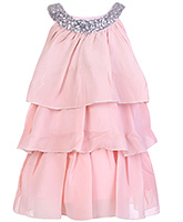 Buy Babyhug Sleeveless Layered Frock With Scoop Neck Embellishment - Peach