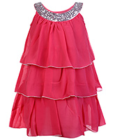 Buy Babyhug Sleeveless Layered Frock With Scoop Neck Embellishment - Pink