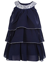 Buy Babyhug Sleeveless Layered Frock With Scoop Neck Embellishment - Navy Blue