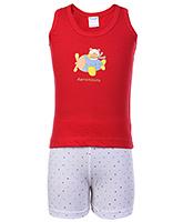Buy Tango Sleeveless T-Shirt And Shorts Red - Aeronauts Print