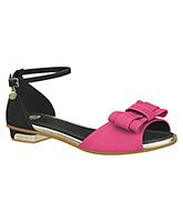 Buy Elefantastik Sandals With Buckle Straps - Black And Magenta