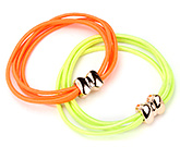 Buy Fab N Funky Hair Rubber Bands Green And Orange - Set of 2