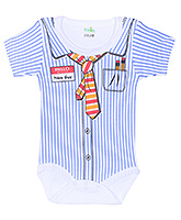 Buy Babyhug Half Sleeves Romper with Shirt Styling - Blue and White