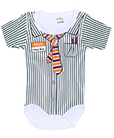 Buy Babyhug Half Sleeves Romper with Shirt Styling - Dark Green and White
