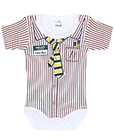 Buy Babyhug Half Sleeves Romper with Shirt Styling - Brown and White