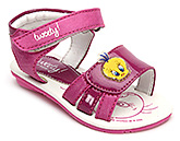 Buy Tweety Sandals with Velcro Strap and Tweety Applique - Pink