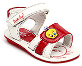 Buy Tweety Sandals with Velcro Strap and Tweety Applique - Red and White
