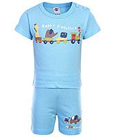 Buy Zero Half Sleeves T-Shirt And Shorts Sky Blue - Happy Traveller Print