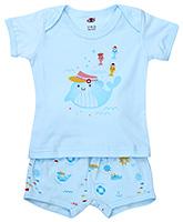 Buy Zero Half Sleeves T-Shirt And Shorts Sky Blue - Captain Print