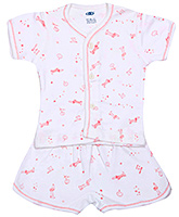 Buy Zero Short Sleeves Front Button Night Suit - Dog Print