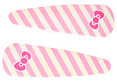 Buy Fab N Funky Line And Bow Print Snap Clips Light Pink - 1 Pair