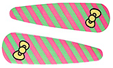Buy Fab N Funky Line And Bow Print Snap Clips Dark Pink And Green - 1 Pair