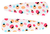 Buy Fab N Funky Big Dot Print Snap Clips White - 1 Pair