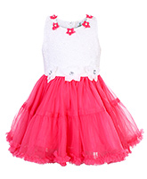Babyhug Sleeveless Party Frock With Flower Appliques - Dark Pink And White