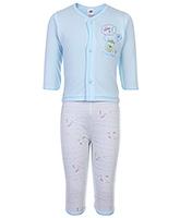 Buy Zero Full Sleeves Printed Vest And Pant - Sky Blue