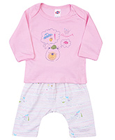 Buy Zero Full Sleeves T-Shirt and Diaper Legging with Teddy Print - Pink