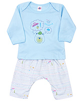 Buy Zero Full Sleeves T-Shirt and Diaper Legging with Teddy Print - Blue