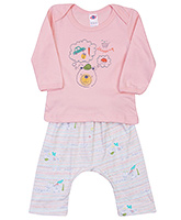 Buy Zero Full Sleeves T-Shirt and Diaper Legging with Teddy Print - Peach