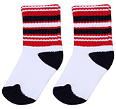 Buy Cute Walk Socks Stripes Print - White Red And Black