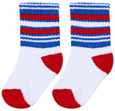 Buy Cute Walk Socks Stripes Print - White Red And Blue