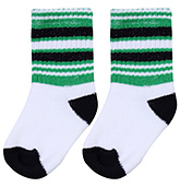 Buy Cute Walk Socks Stripes Print - White Black And Green