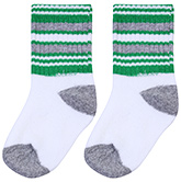 Buy Cute Walk Socks Stripes Print - White Green And Grey