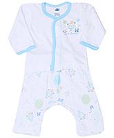 Buy Zero Full Sleeves Printed T-Shirt And Diaper Legging - Aqua Blue