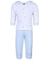 Buy Zero Full Sleeves Printed T-Shirt And Pant - Sky Blue