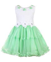 Babyhug Sleeveless Party Wear Frock with Floral Motifs - Green and White