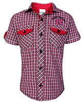 Babyhug Half Sleeves Shirt With Check Print - Red