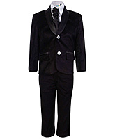 Babyhug Full Sleeves Four Piece Party Suit - Black
