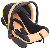 Fab N Funky Baby Car Seat Cum Carry Cot With Rear Facing - Peach and Navy Blue