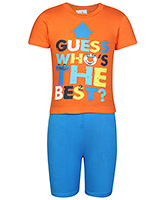 Babyhug Half Sleeves T-Shirt And Shorts - Blue And Orange