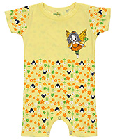 Babyhug Short Sleeves Romper Flowers Print - Yellow