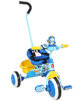 Fab N Funky Baby Tricycle With Safety Belts And Push Handle - Blue and Yellow