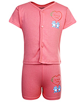 Babyhug Half Sleeves T-Shirt And Shorts Dark Pink - We Are All Friends Print
