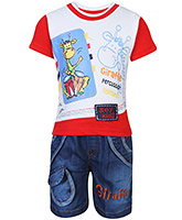 Babyhug Half Sleeves Printed T-Shirt And Denim Shorts Red - Giraffe Print