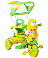 Fab N Funky Musical Tricycle With Canopy And Push Handle - Yellow and Green