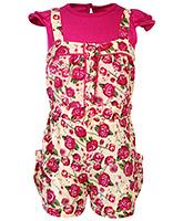 Babyhug Jumper With T-Shirt Rose Print - Pink