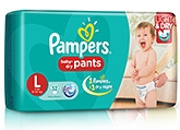 Pampers Pant Diapers Light And Dry Large - 52 Pieces