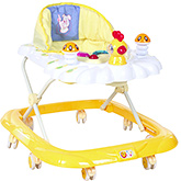 Fab N Funky Musical Baby Walker With Play Tray - Yellow