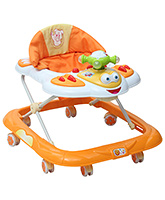Fab N Funky Musical Baby Walker With Cushioned Seat - Orange