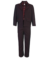 Babyhug Full Sleeves Five Piece Party Suit - Maroon