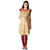 Morph Maternity Kameez With Suddle Stitch Detailing Beige