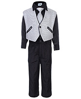 Babyhug Four Piece Party Suit - Silver And Black