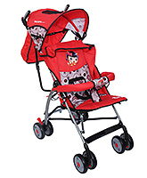 Fab N Funky Stroller With Baby Girl Print - Red