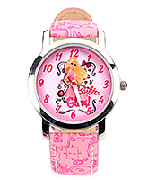 Barbie Glam Analog Watch Pink With Print - Length 21.5  cm
