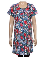 Uzazi Maternity Long Tunic Top With Short Sleeves Blue - Floral Print