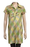 Uzazi Maternity Long Tunic Top In Half Sleeves - Green