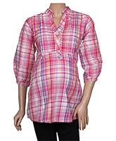 Uzazi Maternity Top Checkered Pattern - Pink